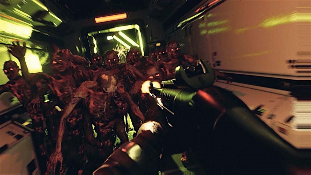 PlayStation 5 Quantum Error silahıyla canavarlara ateş eden adam.