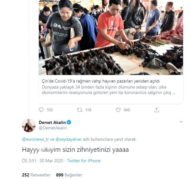 Demet Akalın'dan Küfürlü Tepki, twitter ve tweet atan demet akalın, Çin'deki Hayvan pazarları açıldı.