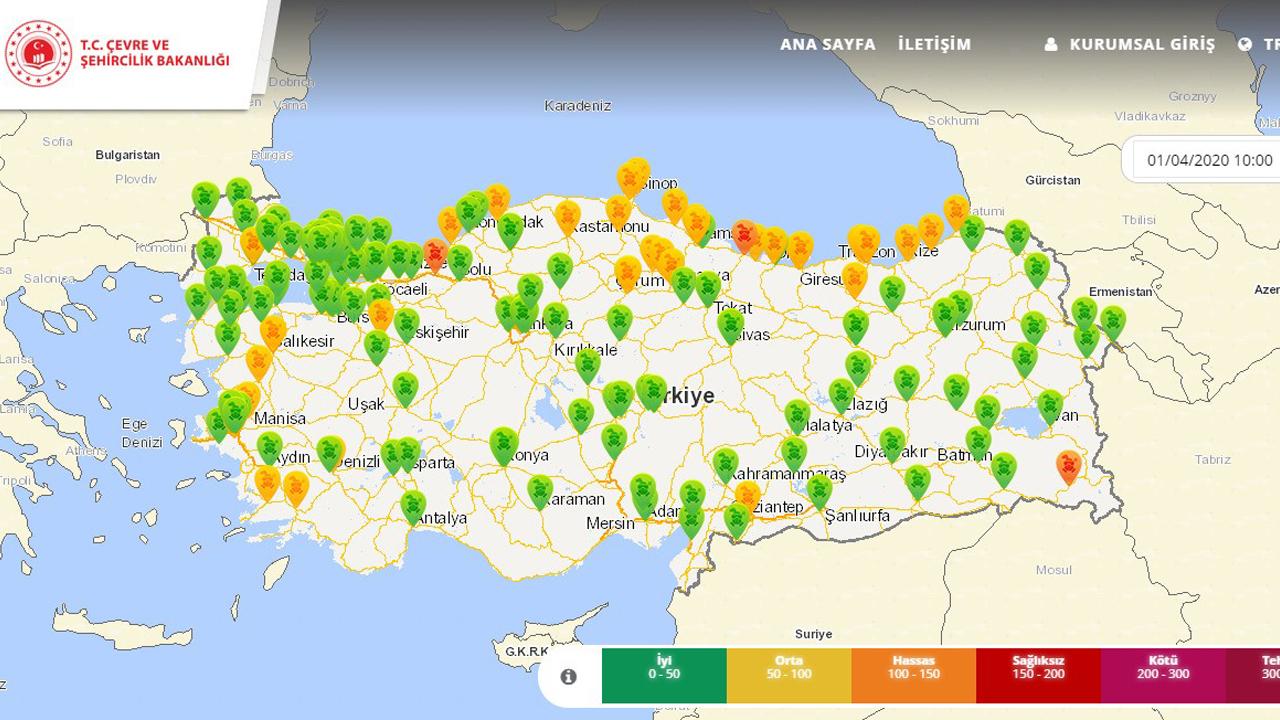 Hava Kalitesinde Ciddi Artış görenleri şaşırttı. Türkiye haritası hava kalitesi.