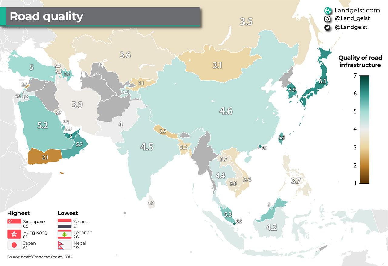İşte Asya'daki En İyi ve En Kötü Yollara Sahip Ülkeler!
